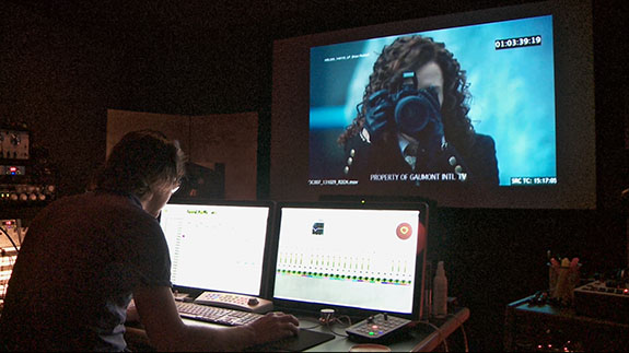 Composer Brian Reitzell working on the second season of Hannibal.